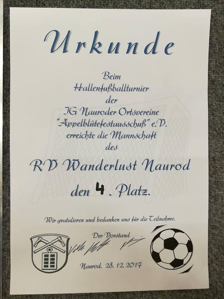 Urkunde Fussball-Turnier zwischen den Jahren 2017